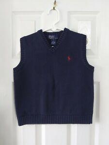 Polo By Ralph Lauren Boys Navy Blue Sweater Vest - Size 7