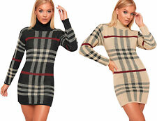 New Womens Knitted Checked Tartan Polo Neck Jumper Dress Ladies Long Sleeve Mini