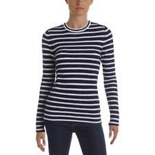 Aqua Cashmere 7771 Womens Navy Cashmere Striped Pullover Sweater XS BHFO