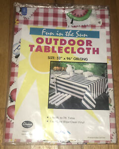 """Vintage Fun In The Sun Outdoor Tablecloth 52"""" X 96"""" Oblong Easy-Wipe Vinyl"""