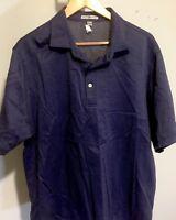 Peter Millar Mens Shirt Sz Large Blue Polo Golf Casual Cotton EUC