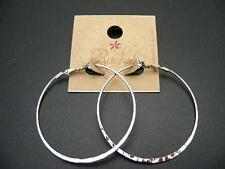 """$8 Rachel Hoop Earrings Large 2"""" Diameter Silvertone Metal Wavy Whisper Light"""