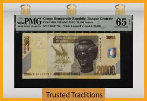TT PK 104b 2013 CONGO DEMOCRATIC REPUBLIC 20000 FRANCS PMG 65 EPQ GEM UNC.