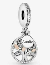 💎🎀 STERLING SILVER 925 AUNTIE FAMILY TREE DANGLE PENDANT CHARM & POUCH