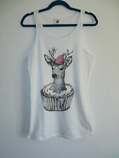 Cupcake My Deer Vest Top / Dress - Size 10-12 - White - T-Shirt Animal Quirky