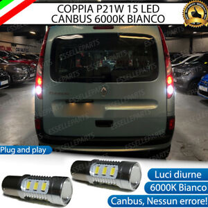 COPPIA LUCI RETROMARCIA 15 LED P21W CANBUS RENAULT KANGOO 2 RESTYLING 6000K
