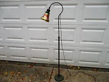 Antique Art Nouveau Bronze Handel Floor Lamp Signed Steuben Aurene Shade Nice