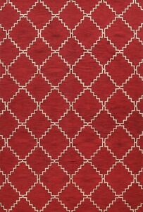 Trellis Modern Hand-tufted Oriental Area Rug Contemporary RED Wool Carpet 9'x12'