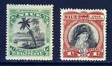 NIUE KG V 1920 ½d. Green & 1d.Black/Carmine No Watermark SG 38 & SG 39 MINT