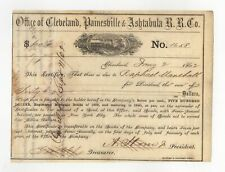1862 Office of Cleveland, Painesville & Ashtabula Railroad Company Bond