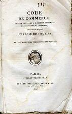 C1 NAPOLEON - CODE DU COMMERCE 1807 EO COMPLET Expose Motifs BROCHE D EPOQUE