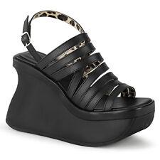 "*Demonia 4.5"" Wedge Platform Slingback Matte Black Multi Strap Sandals Goth 11"