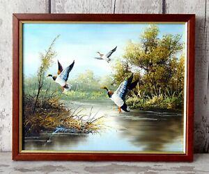 Original Vintage Oil Painting on Canvas Wild Ducks Game Birds Signed Framed #B