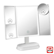 Led Lighted Mirror w/ Magnifying Portable Vanity Makeup Compact Trifold Dimmer