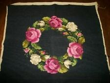 ANTIQUE NEEDLEPOINT FRENCH ROSES WREATH PILLOW TOP SEAT COVER CHIC SHABBY