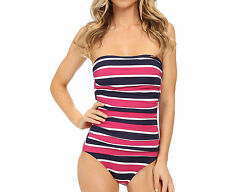 NEW Tommy Bahama Womens Striped Halter Shirred Bandau Cup 1 Piece Swimsuit AU10