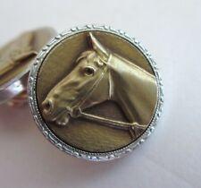 VTG Art Deco KREMENTZ Yellow & White Rolled Gold Equestrian Horse Cufflinks Set