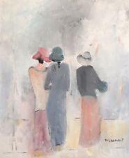 """Leinert Monique  """"Femmes de dos """".  Huile sur toile . v583."""