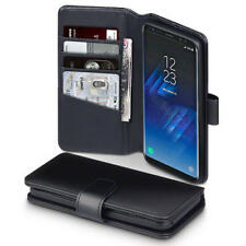 Luxury Real Leather Stand Wallet Case for Samsung Galaxy S8 - Black