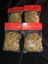 4 Vintage Gold Plastic Bead Chain Christmas Tree Garland~9 ft each~Hong Kong