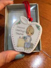 Precious Moments Seasons Greetings Teacher Apple Porcelain Christmas Ornament N