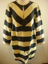 Womens Chico's 2 Black Label NWT $179 Striped Yarn Dyed Jacket Black Gold Long