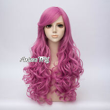 65CM Lolita Dark Pink Long Curly Cosplay Party Hair Wig Heat Resistant+Wig Cap