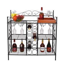 Kitchen Shelf Metal Stand 6 Shelf Display Storage 12 Wine Bottle Rack Bar