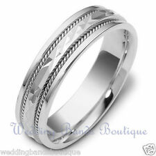 18K WHITE GOLD BRAIDED MEN'S WEDDING BAND MANS TWISTED ROPE COMFORT RING 6mm
