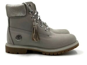 """Timberland 6"""" Inch Premium Waterproof Boot (Womens Size 6) Gray Nubuck NEW"""