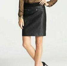 Ann Taylor Black Quilted Faux Leather Zip Pockets Straight Skirt Lined   8