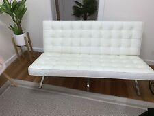 Barcelona Chair Sofa -White Premium Italian Leather Double 2 Seater