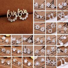 Women 925 Silver Crystal Rhinestone Ear Studs Silver Earrings wedding Jewelry