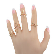 4pcs/set Women Charming Gold Leaves Adjustable Stylish Finger Rings Jewelry