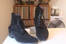 Brumas 25326 Black Suede Leather Lace Up Boots EUR Size 44 Made In Italy