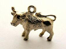 Cow or Bull vintage sterling silver charm  three dimensional solid charm 1969