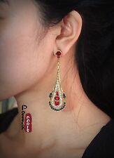 Boucles d`Oreilles Clous Longue Goutte Fin Mini Perle Bleu Rouge Vintage Baroque