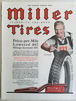 1920 Antqiue Miller Cord  Tires  Color Original Ad