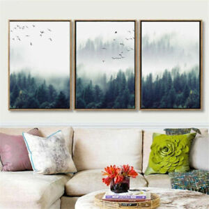 Nordic Forest Birds Landscape Canvas Painting Poster Print Home Room Wall Decor
