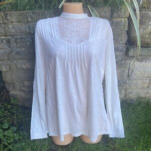 Tu Cream Lace Mesh Trim High Neck Edwardian Style Top Size 18