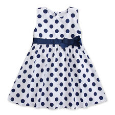 Girls Kids Baby Children Sleeveless belt blue dot Dress Summer SK02be 5-6 Years