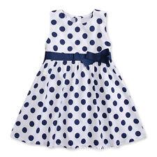 Girls Kids Baby Children Sleeveless belt blue dot Dress Summer SK02be 1-2 Years