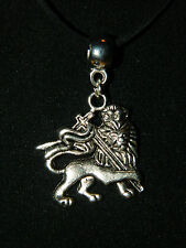 """Silver Imperial Flag Necklace Black Suede Leather Rope 20"""" Ethiopia Lion Pendant"""