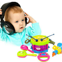 5pcs Kids Baby Roll Drum Musical Instruments Band Kit Children Toy Gift Set SK