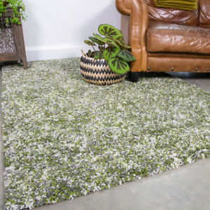 Dark Green Rug Flecked Shaggy Rugs Small Large Non Shed Living Room Rug