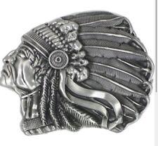 Grey Indian Chief Head Belt Buckle Sitting Bull Geronimo Head dress Feathers