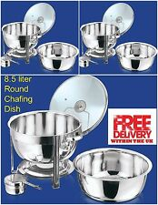 Set of 3 Round 8.5L Chafing Dish with Glass Lid/BUFFET DISH/PARTY FOOD WARMER