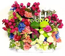 SPRING Silk Floral Door Decor Or Arrangement Frogs Wood WindowBox 20x18 FREESHIP