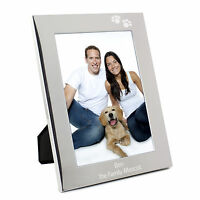 Personalised Silver Paw Prints 5x7 Photo Frame - Engraved Free- Family Pets Xmas