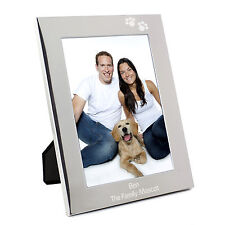 Personalised Silver Paw Prints 5x7 Photo Frame - Engraved Free - Dog, Puppy